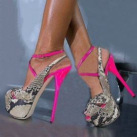 Snakeskin Printed Peep-Toe Stiletto Heel Sandals