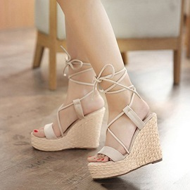PU Crochet Lace-Up Roman Sandals