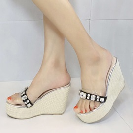 Diamond Open-Toe Crochet Wedge Sandals