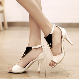 Contrast Color Rivets Covering Heel Sandals
