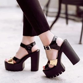 PU Peep-Toe Wedge Sole Chunky Heel Sandals