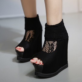 Black Lace Patchwork Peep-Toe Wedge Sandals