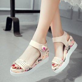 Floral Printed Velcro Wedge Sandals