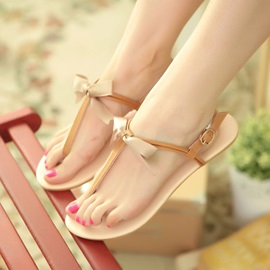 Simple Style T-Strap Beach Sandals