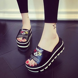 Cartoon Printed PU Platform Sandals