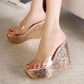 PVC Sequins Slip-On Wedge Sandals