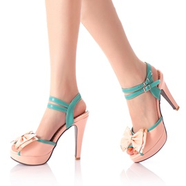 Contrast Color Bowknots Peep-Toe Sandals