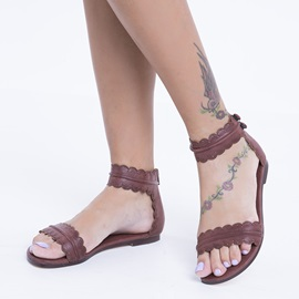 Retro PU Trimmed with Lace Flat Sandals