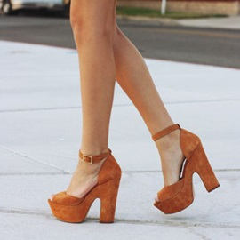 Suede Brown Peep Toe Buckle Block Heel Platform Sandals