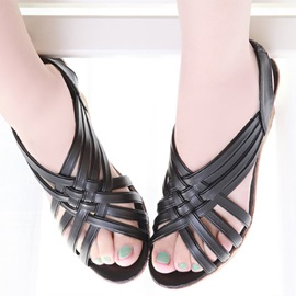 PU Elastic Band Platform Women's Wedge Sandals