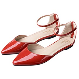 Pateng Leather Zipper Pointed Toe Line-Style Buckle Women's Flats