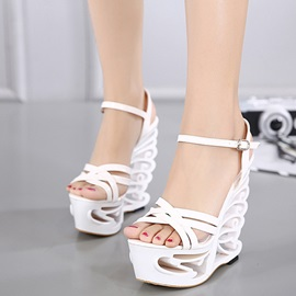PU Hollow Ankle Strap Shaped Heel Women's Sandals