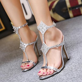 Chic PU Buckle Rivets High Heel Women's Sandals