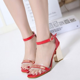 PU Line-Style Buckle Block Heel Women's Heel Sandals