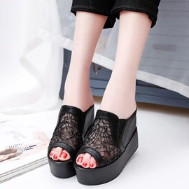 PU Slip-On Mesh Multi Color Women's Wedge Shoes