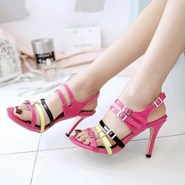 Patent Leather Strappy Buckle High Heel Women's Sandals