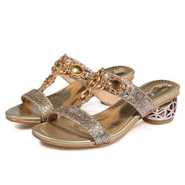 Sequin Rhinestone Slip-On Women's Sandals