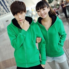 Simple Cotton Zip-Front Long Sleeve Hooded Couple Outfits ( Price For A Pair )