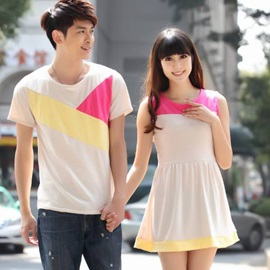Elegant Color Block Round-Neck Couple Outfits (Price for A Pair)