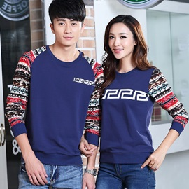Delicate Color Block Printing Couple Tees (Price for A Pair)