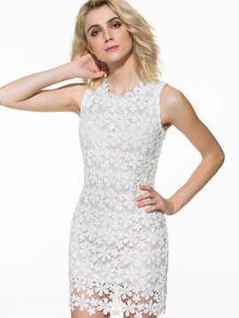 European Lace Crochet Zippered Dress
