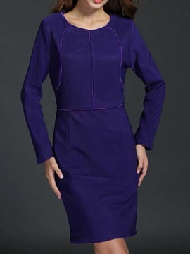 Solid Color Long Sleeve Day Dress