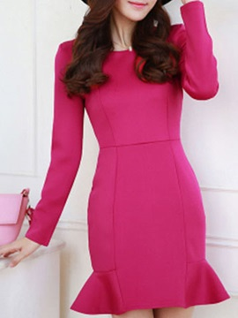 Solid Round Neck Long Sleeve Mermaid Day Dress