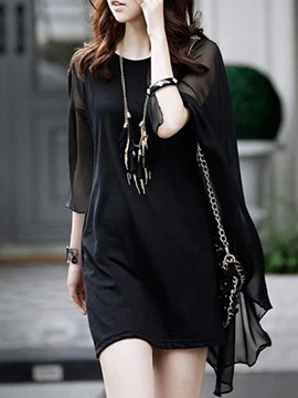 Solid Batwing Sleeve Slim Day Dress