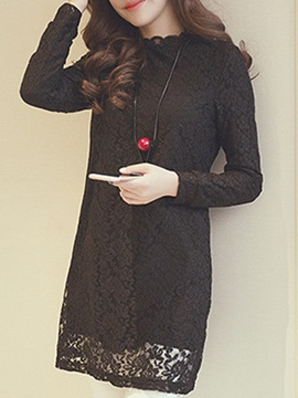 Solid Long Sleeve Lace Dress