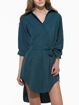 Plain 3/4 Sleeve Belt Day Dress