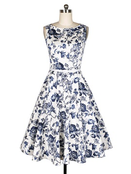 Prom Print Expansion Day Dress