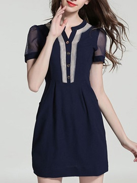 Patchwork V Neck Short Sleeve Slim Day Dress