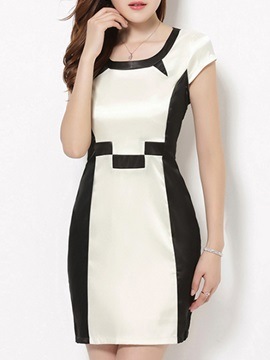 Color Block Short Sleeve Day Dress