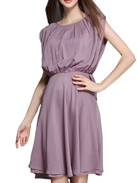 Chic Plain Patchwork Sleeveless Day Dress