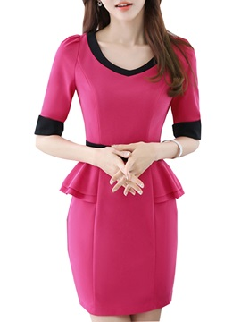 Falbala Half Sleeve V Neck Work Dress
