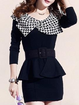 Houndstooth Falbala Long Sleeve Day Dress