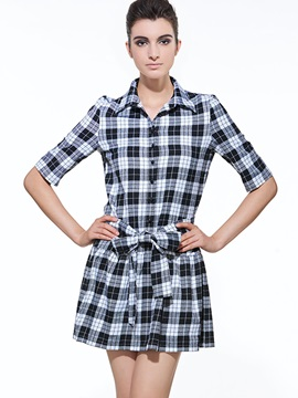 Plaid Lapel Half Sleeve Lace-Up Day Dress