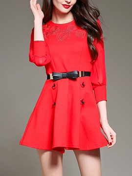 Solid 3/4 Sleeve Button A-Line Day Dress