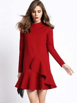 Solid Stand Collar Falbala Long Sleeve Dress
