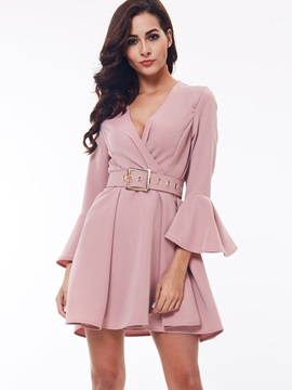 Solid V-Neck Flare Sleeve Belt Day Dress