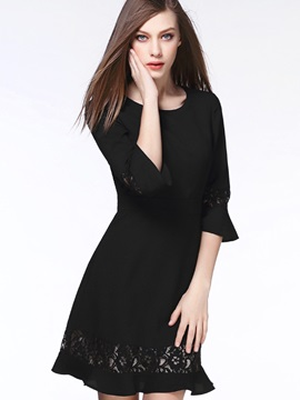 Solid Round Neck Flare Sleeve Patchwork Day Dress
