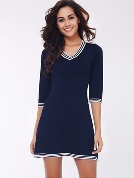 Color Block V-Neck A-Line Day Dress
