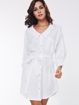 Solid Lapel Button Lace-Up Day Dress