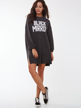 Letter Pullover Long Sleeve Day Dress