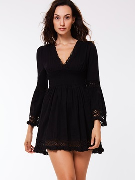 :V-Neck Lantern Sleeve A-Line Day Dress