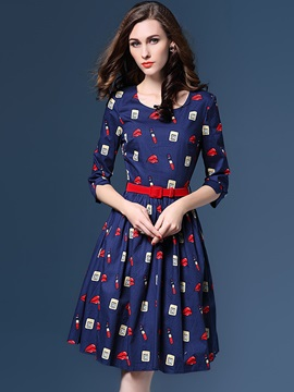 Floral Print 3/4 Sleeve Single-Breasted Day Dress
