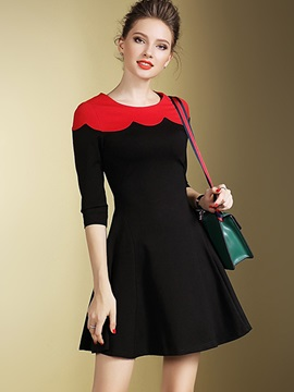 Color Block Wave Cut Round Neck Skater Dress