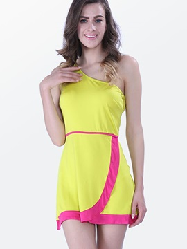 Color Block Asymmetric Backless Day Dress