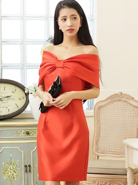 Solid Color Off Shoulder Short Day Dress