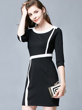 Round Neck Half Sleeve Short Day Dress